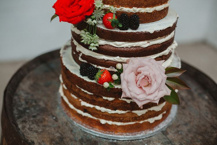Naked Wedding Cake with Berries & Flower Decor | Contemporary Wedding at Industrial Venue 92 Burton Road, Sheffield | Maytree Photography