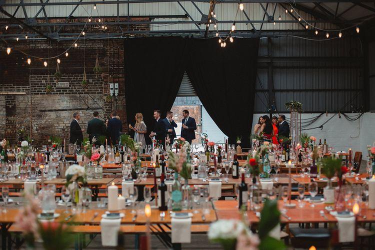 Wedding Reception Decor | Contemporary Wedding at Industrial Venue 92 Burton Road, Sheffield | Maytree Photography