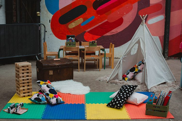 Children's Play Corner with Tipi | Contemporary Wedding at Industrial Venue 92 Burton Road, Sheffield | Maytree Photography