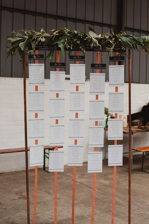 Copper Frame Seating Chart | Contemporary Wedding at Industrial Venue 92 Burton Road, Sheffield | Maytree Photography