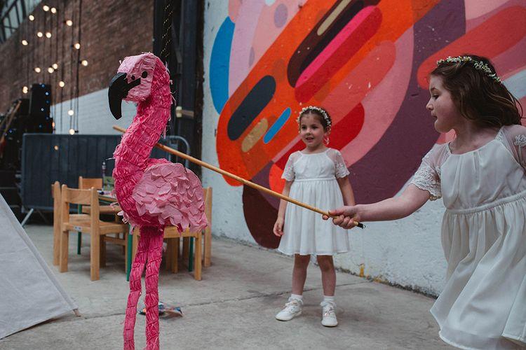 Pink Flamingo Pinata | Contemporary Wedding at Industrial Venue 92 Burton Road, Sheffield | Maytree Photography
