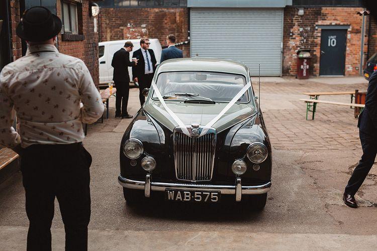 Vintage Wedding Car | Contemporary Wedding at Industrial Venue 92 Burton Road, Sheffield | Maytree Photography
