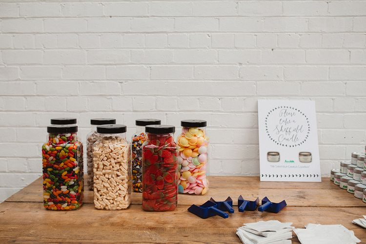 Retro Sweet Table | Contemporary Wedding at Industrial Venue 92 Burton Road, Sheffield | Maytree Photography