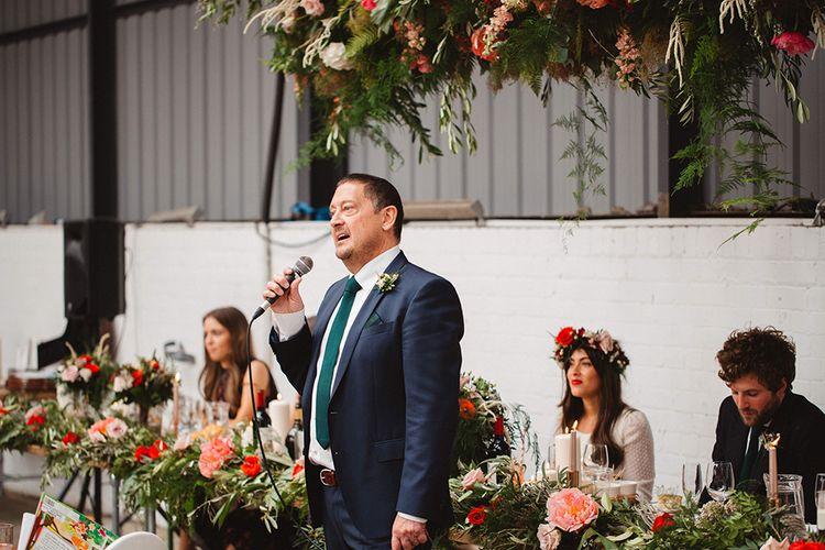 Wedding Reception Speech | Contemporary Wedding at Industrial Venue 92 Burton Road, Sheffield | Maytree Photography