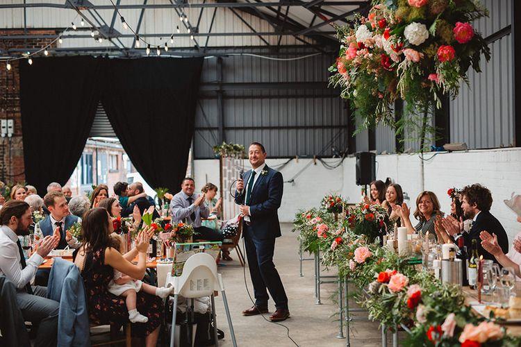 Wedding Reception Speeches | Contemporary Wedding at Industrial Venue 92 Burton Road, Sheffield | Maytree Photography