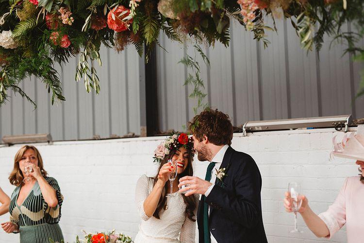 Bride & Groom Toasting | Wedding Reception Speeches | Contemporary Wedding at Industrial Venue 92 Burton Road, Sheffield | Maytree Photography