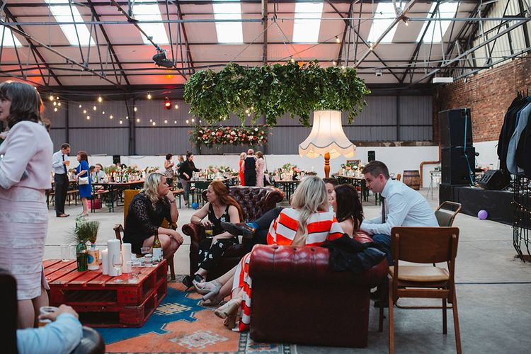 Vintage Seating Area Wedding Decor | Contemporary Wedding at Industrial Venue 92 Burton Road, Sheffield | Maytree Photography