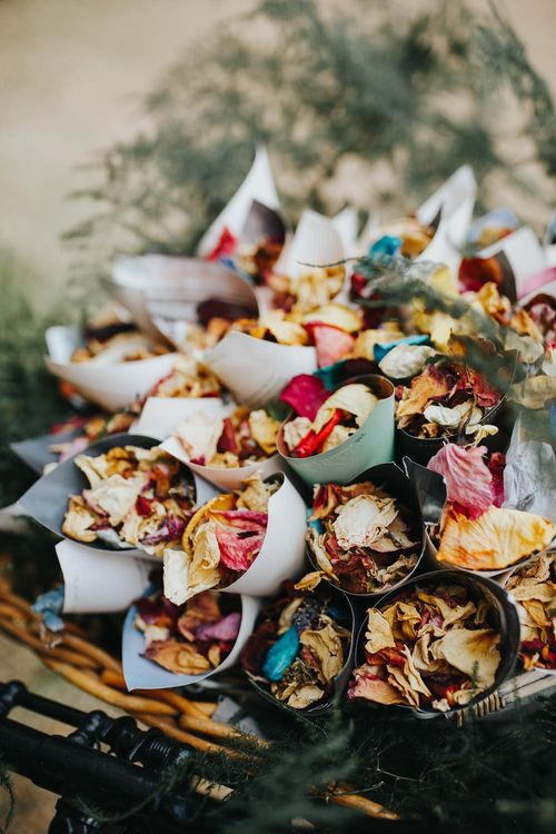 Dried Flower Petal Confetti // Vow Renewal At Doddington Hall With Bride In Alan Hannah With Brightly Coloured Florals And Images From Magda K Photography