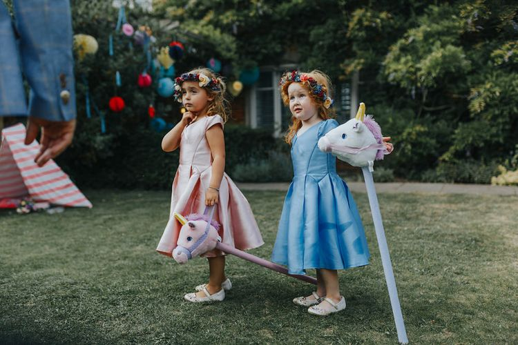 Children At Wedding // Vow Renewal At Doddington Hall With Bride In Alan Hannah With Brightly Coloured Florals And Images From Magda K Photography