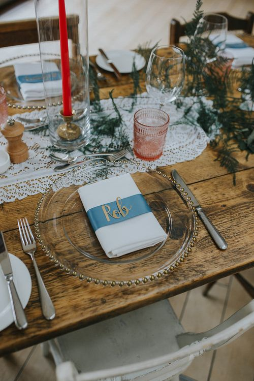 Clear Charger Plate For Wedding // Vow Renewal At Doddington Hall With Bride In Alan Hannah With Brightly Coloured Florals And Images From Magda K Photography