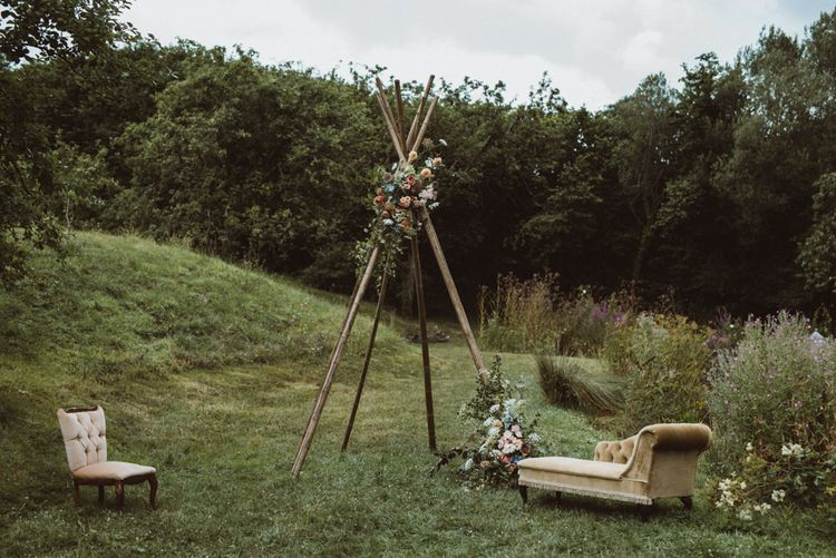 Naked Tipi Wedding Altar with Vintage Chaise & Chair