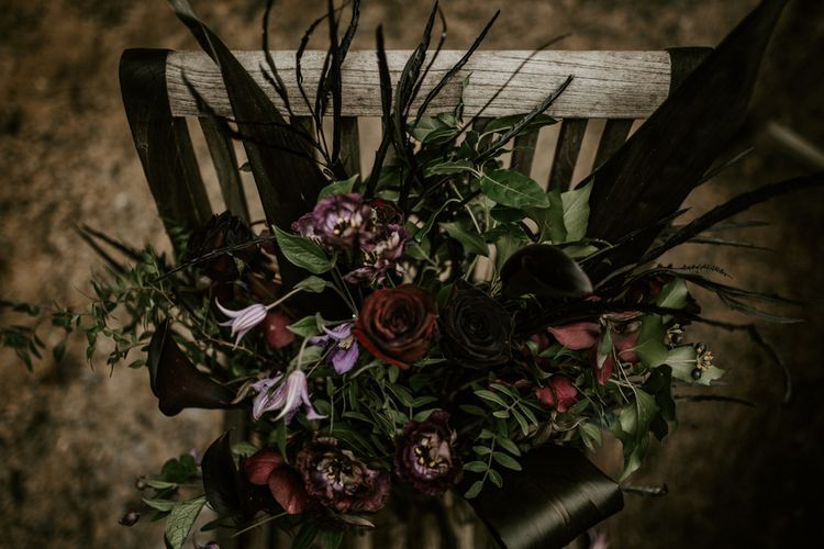 Deep Red, Plum & Purple Wedding Bouquet Flowers | Forest Green and Black Dark Decadence Wedding Inspiration in a Rustic Barn Planned & Styled by Knots & Kisses with Images by Daze of Glory Photography