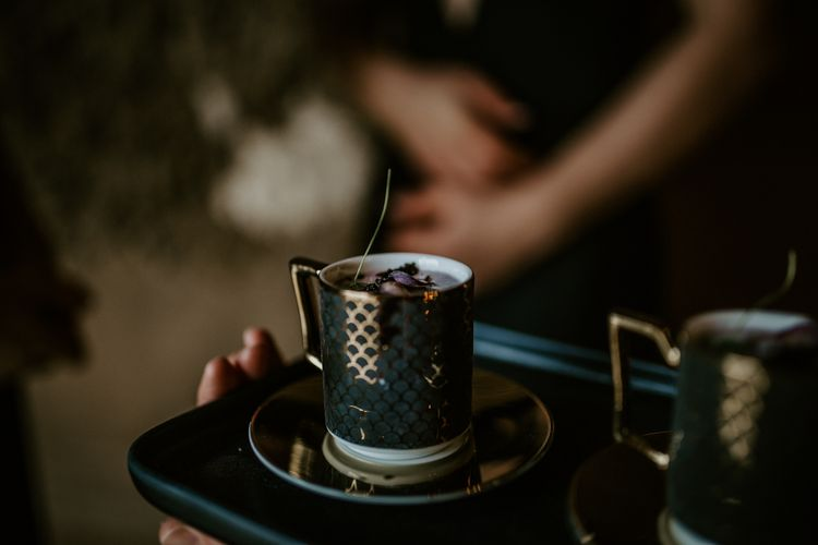 Gold Design Expresso Cups | Forest Green and Black Dark Decadence Wedding Inspiration in a Rustic Barn Planned & Styled by Knots & Kisses with Images by Daze of Glory Photography