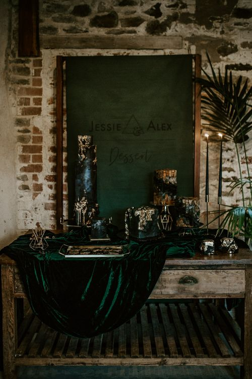 Cake Table with Velvet Drape & Flag Backdrop Wedding Sign | Forest Green and Black Dark Decadence Wedding Inspiration in a Rustic Barn Planned & Styled by Knots & Kisses with Images by Daze of Glory Photography