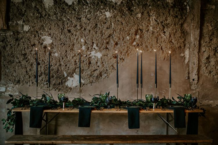 Black Taper Candles Wedding Table Decor | Forest Green and Black Dark Decadence Wedding Inspiration in a Rustic Barn Planned & Styled by Knots & Kisses with Images by Daze of Glory Photography
