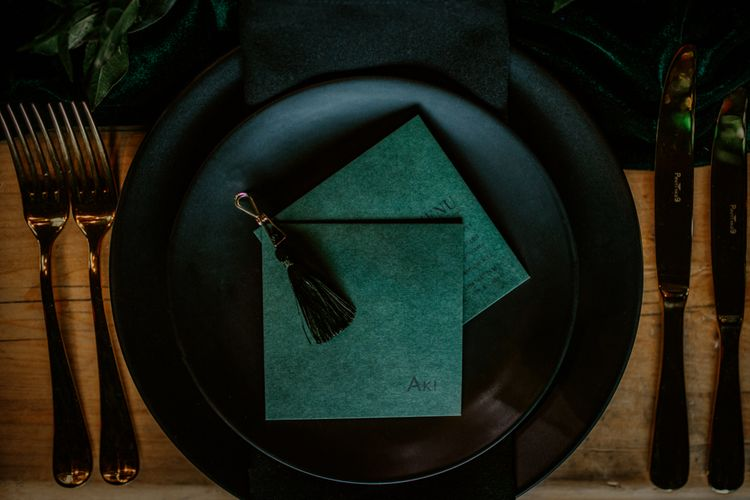 Luxury Forest Green Wedding Stationery with Wax Seal | Forest Green and Black Dark Decadence Wedding Inspiration in a Rustic Barn Planned & Styled by Knots & Kisses with Images by Daze of Glory Photography