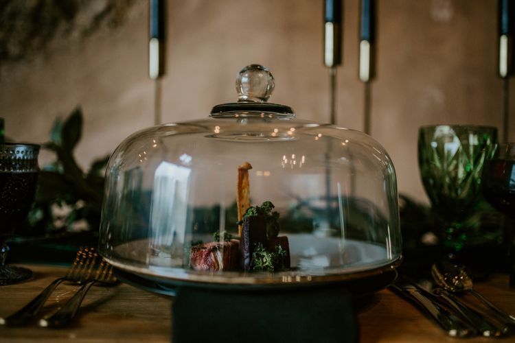 Cloche Wedding Decor | Forest Green and Black Dark Decadence Wedding Inspiration in a Rustic Barn Planned & Styled by Knots & Kisses with Images by Daze of Glory Photography