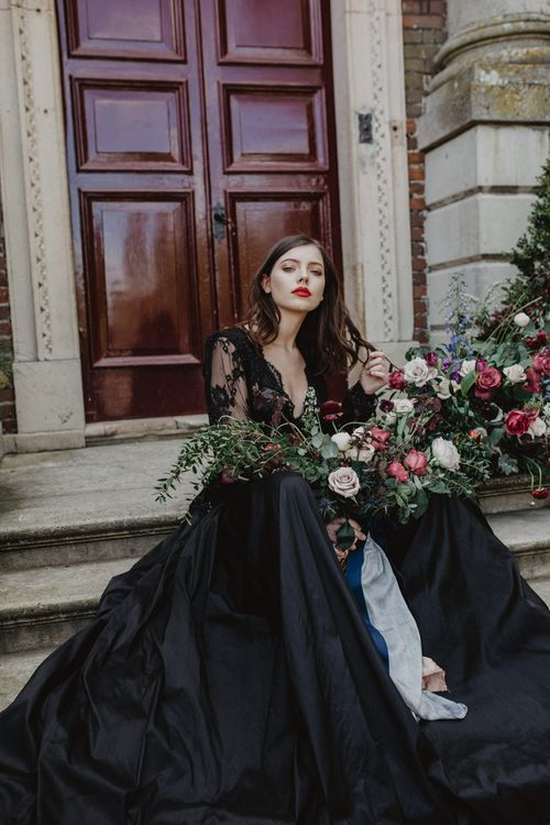 Bride in Black River Elliot Bridal Gown | Dark Opulence Inspiration at Anstey Hall, Cambridgeshire Styled by Mia Sylvia | Camilla Andrea Photography