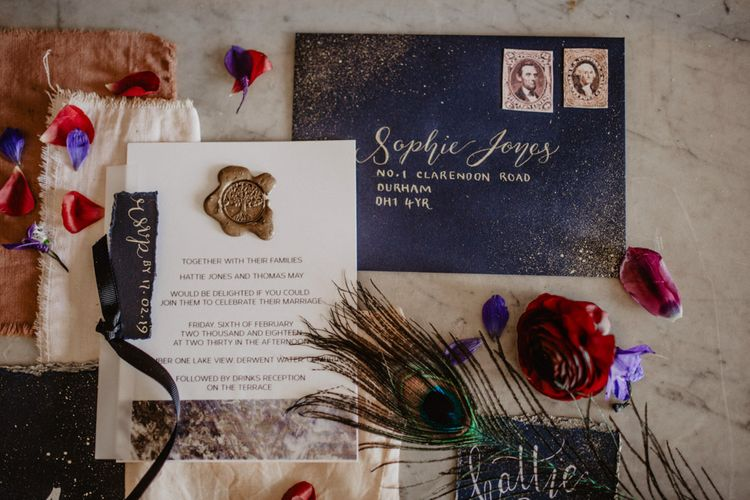 Clarendon Design Stationery | Dark Opulence Inspiration at Anstey Hall, Cambridgeshire Styled by Mia Sylvia | Camilla Andrea Photography