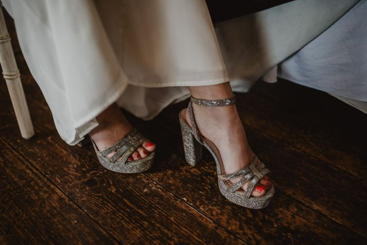 Silver Platform Bridal Shoes | Oversized Bridal Bouquet | Dark Opulence Inspiration at Anstey Hall, Cambridgeshire Styled by Mia Sylvia | Camilla Andrea Photography