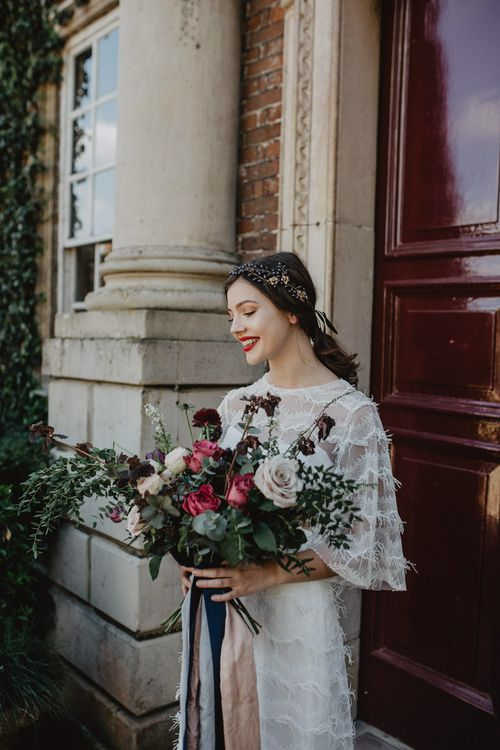 Bride in River Elliot Bridal Gown | Oversized Bridal Bouquet | Dark Opulence Inspiration at Anstey Hall, Cambridgeshire Styled by Mia Sylvia | Camilla Andrea Photography