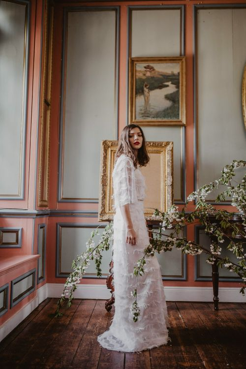 Bride in River Elliot Bridal Gown | Dark Opulence Inspiration at Anstey Hall, Cambridgeshire Styled by Mia Sylvia | Camilla Andrea Photography