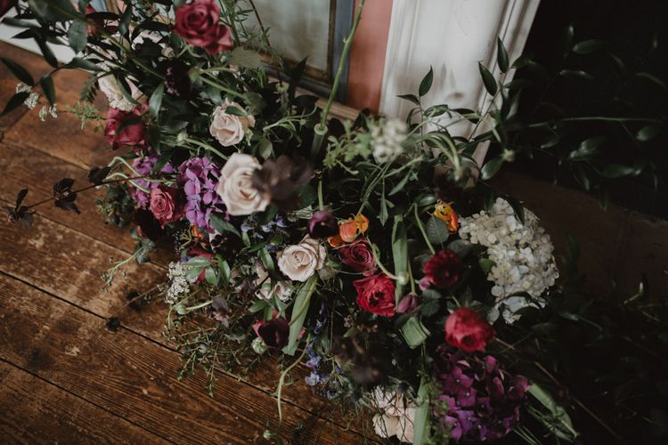 Plum, Red & White Floral Arrangement | Dark Opulence Inspiration at Anstey Hall, Cambridgeshire Styled by Mia Sylvia | Camilla Andrea Photography