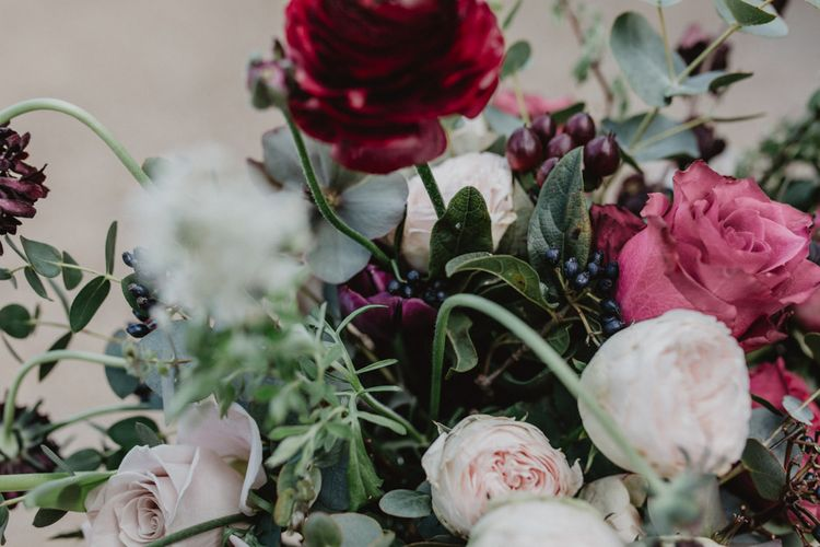 Deep Red, Purple & Plum Wedding Flowers | Dark Opulence Inspiration at Anstey Hall, Cambridgeshire Styled by Mia Sylvia | Camilla Andrea Photography