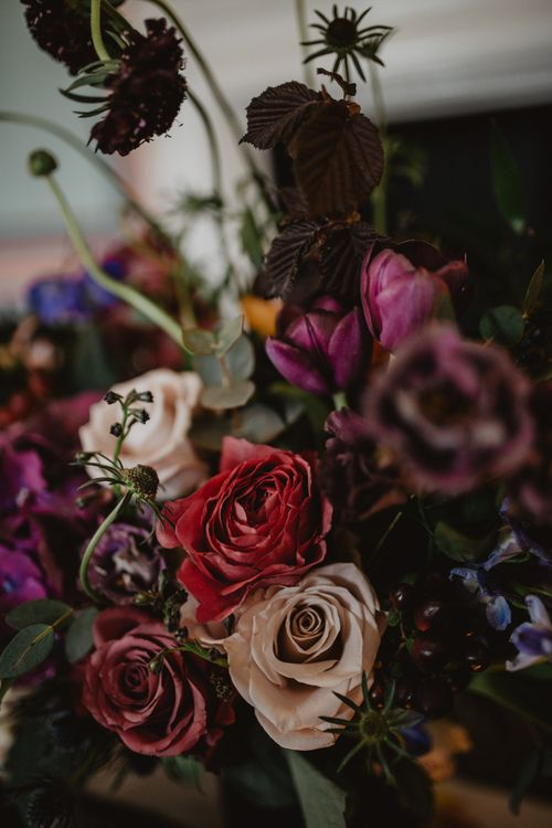 Deep Red, Plum & Purple Wedding Flowers  | Dark Opulence Inspiration at Anstey Hall, Cambridgeshire Styled by Mia Sylvia | Camilla Andrea Photography
