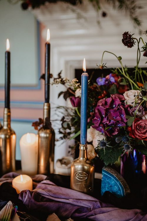 Tablescape with Candlesticks  | Dark Opulence Inspiration at Anstey Hall, Cambridgeshire Styled by Mia Sylvia | Camilla Andrea Photography