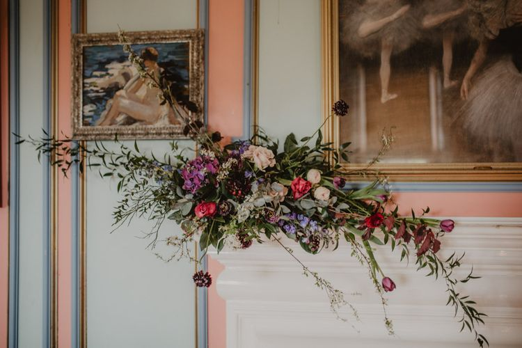 Deep Red, Purple & Plum Fireplace Flowers | Dark Opulence Inspiration at Anstey Hall, Cambridgeshire Styled by Mia Sylvia | Camilla Andrea Photography