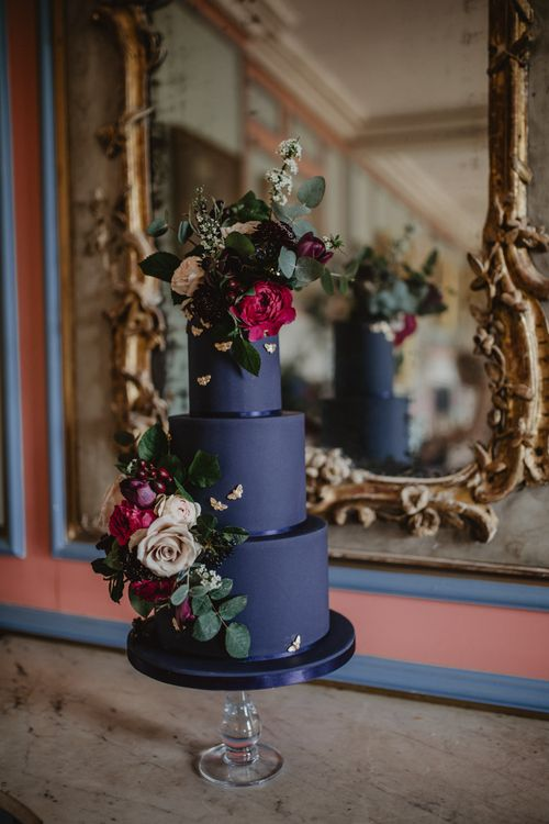 Black Wedding Cake by Couture Cakes by Katie Sanderson  | Dark Opulence Inspiration at Anstey Hall, Cambridgeshire Styled by Mia Sylvia | Camilla Andrea Photography