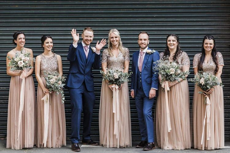 Wedding Party Portrait with Tow Grooms in Navy Suits and Bridesmaids in Blush Pink Sequin and Tulle Maya Bridesmaid Dresses