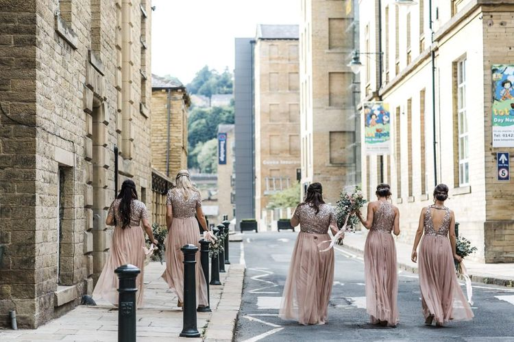 Bridesmaids in Blush Pink Sequin and Tulle Maya Bridesmaid Dresses Walking Through the Streets