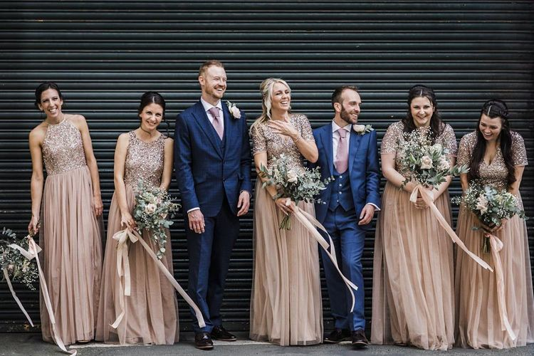 Wedding Party Portrait with Grooms in Navy Suit and Bridesmaids in Blush Pink Maya Bridesmaid Dresses