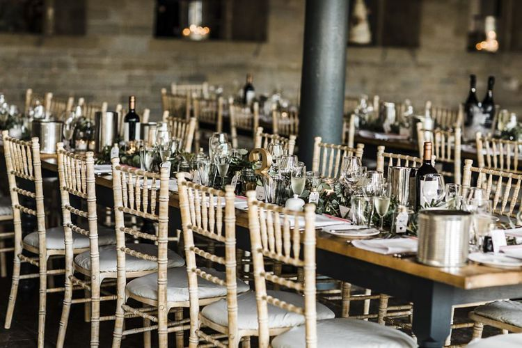 Reception Table Decor with Greenery Garland Centrepiece