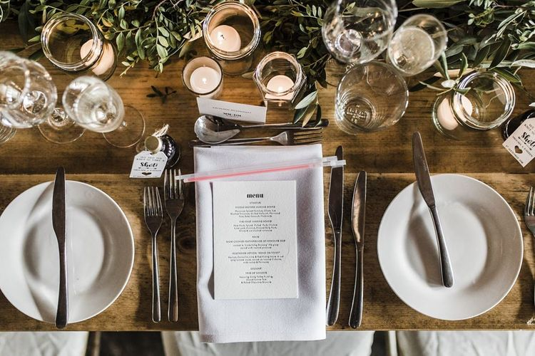 Place Setting with Napkin and Menu Card