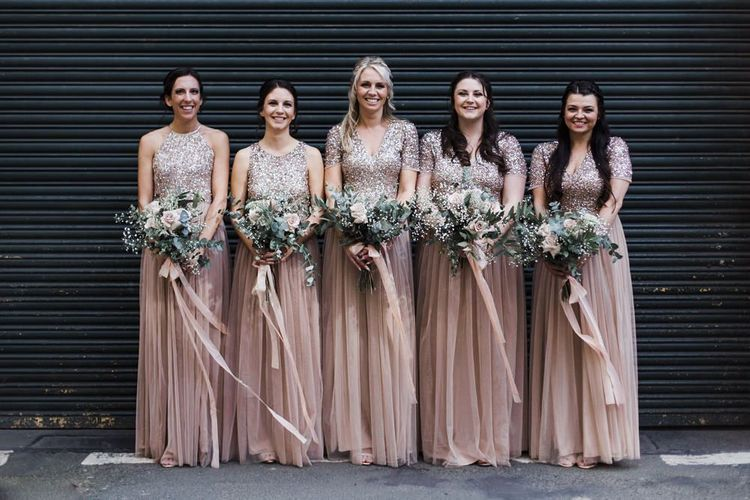 Bridal Party in Blush Pink Sequin and Tulle Maya Bridesmaid Dresses
