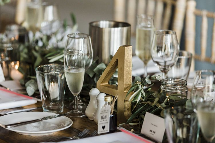 Gold Spray Painted Table Number