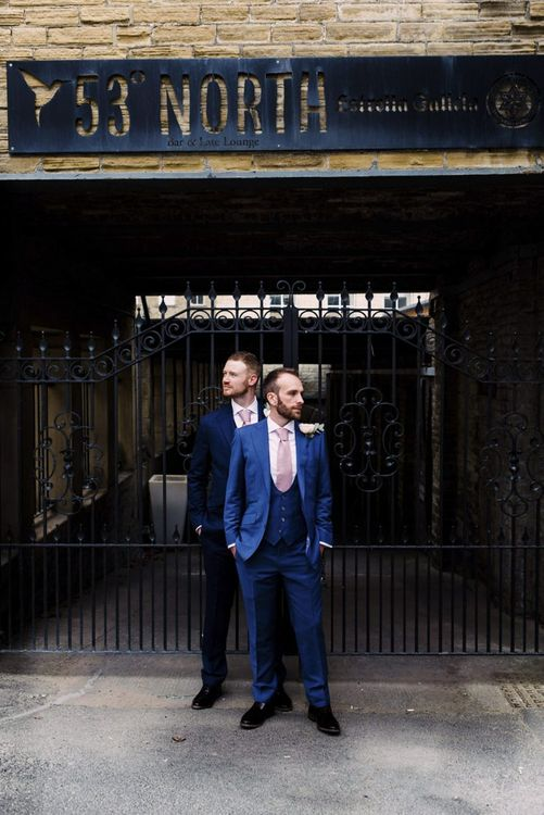 Two Groom's in Navy Blue Suits