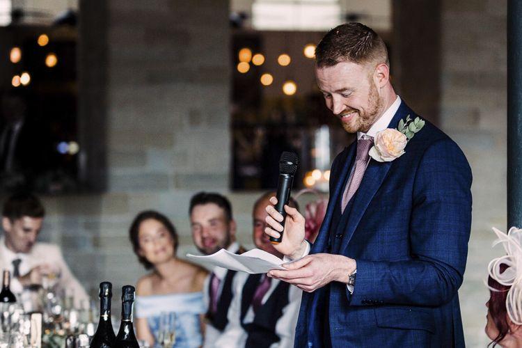 Groom in Navy Blue Speech Giving His Wedding Speech