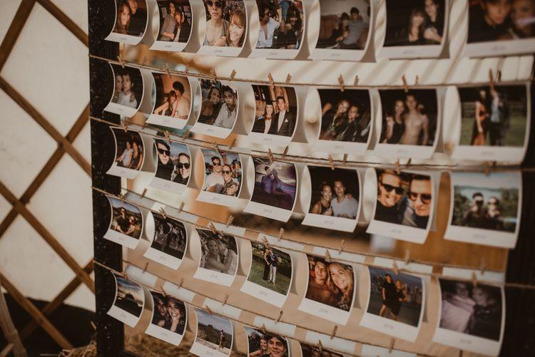 Polaroid Photo Board   Yurt Wedding with Outdoor Naked Tipi Ceremony, Glitter Station & Peach Rewritten Bridesmaid Dresses   Nesta Lloyd Photography