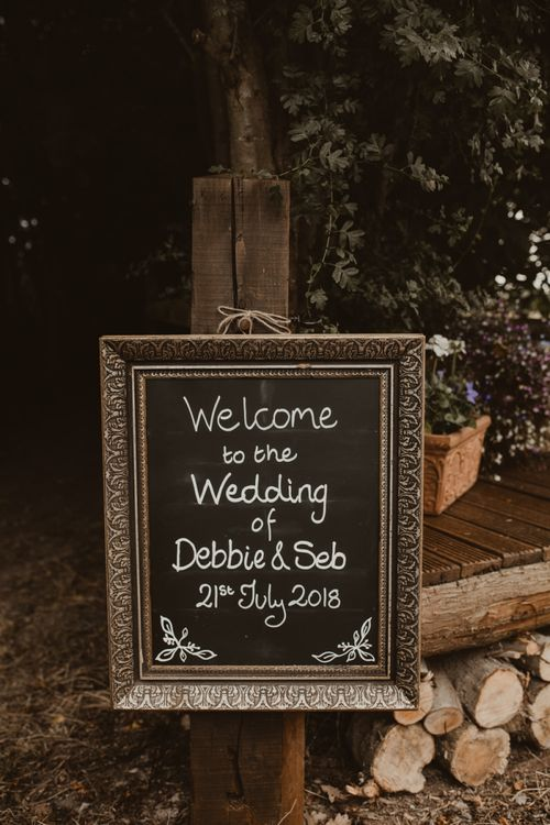 Chalkboard Welcome Sign   Yurt Wedding with Outdoor Naked Tipi Ceremony, Glitter Station & Peach Rewritten Bridesmaid Dresses   Nesta Lloyd Photography