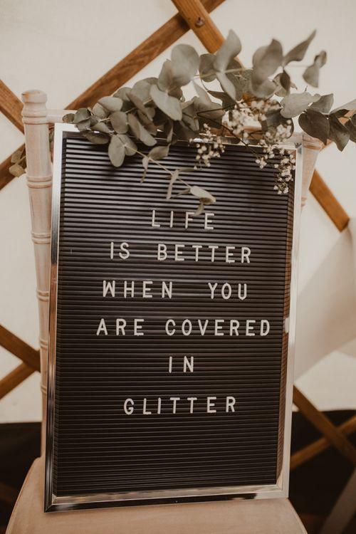 Pinboard Glitter Bar Sign   Yurt Wedding with Outdoor Naked Tipi Ceremony, Glitter Station & Peach Rewritten Bridesmaid Dresses   Nesta Lloyd Photography