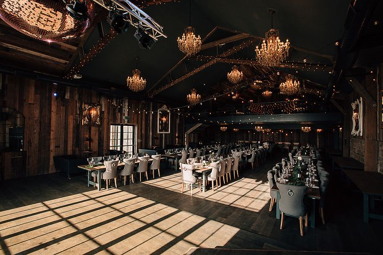 Reception venue at Wharfedale Grange with hanging chandeliers
