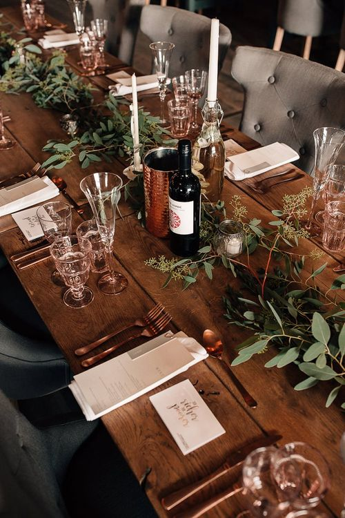 Rustic table decor at Wharfedale Grange reception