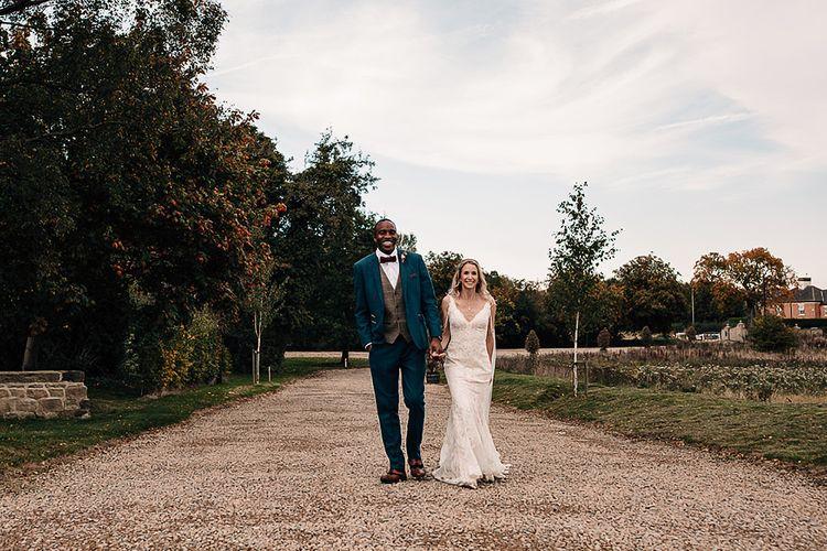 Bride and groom portrait at Wharfedale Grange, Yorkshire wedding venue