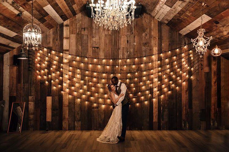 Festoon lights and chandeliers at Wharfedale Grange's barn