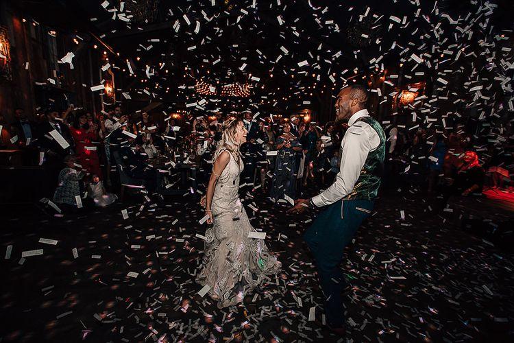 Confetti cannon first dance at Wharfedale Grange