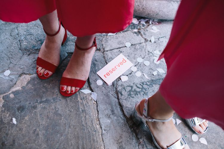 Bridesmaids In Red Jumpsuits // Image By Robbins Photographic